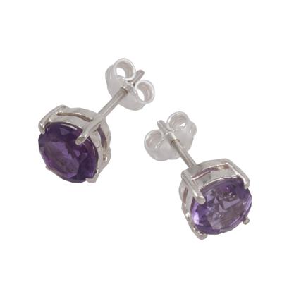 7mm Amethyst Stud Earring