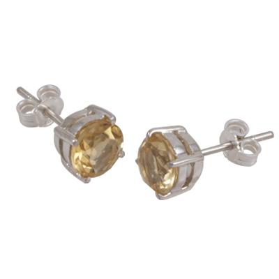 7mm Citrine Stud Earring