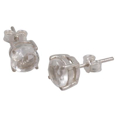 7mm Clear Quartz Stud Earring