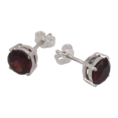 7mm Garnet Stud Earring