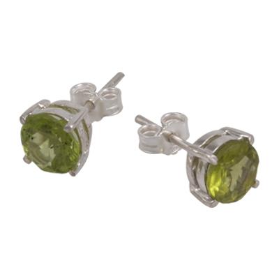 7mm Peridot Stud Earring