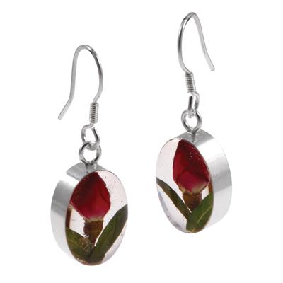 Large Rose Oval Earrings